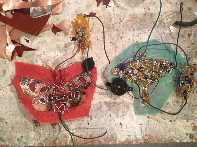 making insects for   Electrolier (Summer Night)    2013 electronics, flexible copper laminate and velvet
