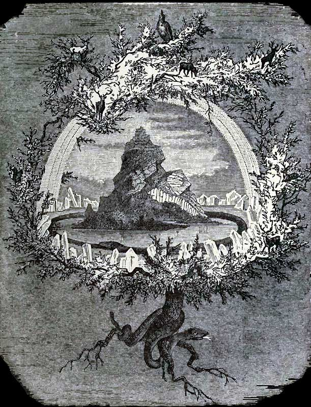 Yggdrasil is an immense  ash tree  that is central and considered very holy. Illustration by Friedrich Wilhelm Heine (1886)
