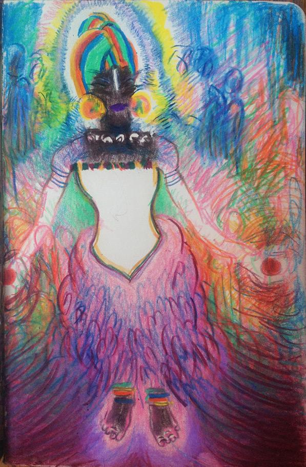 Notebook sketch inspired byFatoumata Diawara. Kelly Heaton, colored pencil on paper. April 4, 2014