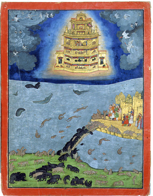 Rama escapes on the Pushpaka Vimana