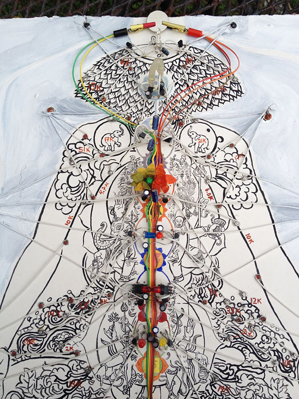 "Detail of Kelly Heaton's, ""Ramayana,"" 2012. Conductive ink, electronics and gauche on paper. 15"" x 15.5"" unframed"