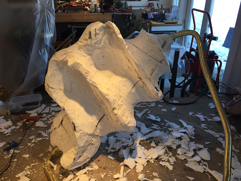 The final carved foam form