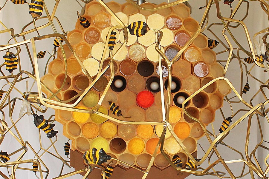 "Detail of ""The Beekeeper,"" 2015. Kinetic sculpture made with steel, cast resin, brass, electronics, wood and paint. Approximate dimensions are 60""(W) x 132"" (H). Kelly Heaton"