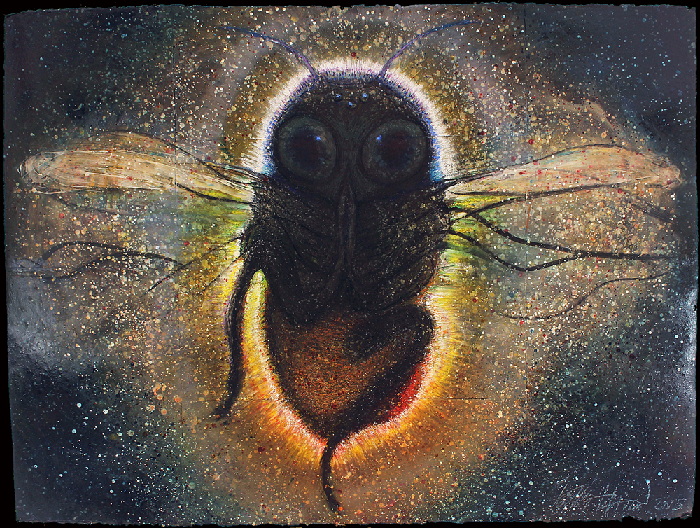 Shamanic Bee    (2013-2015)  pastel, ink, and acrylic on paper