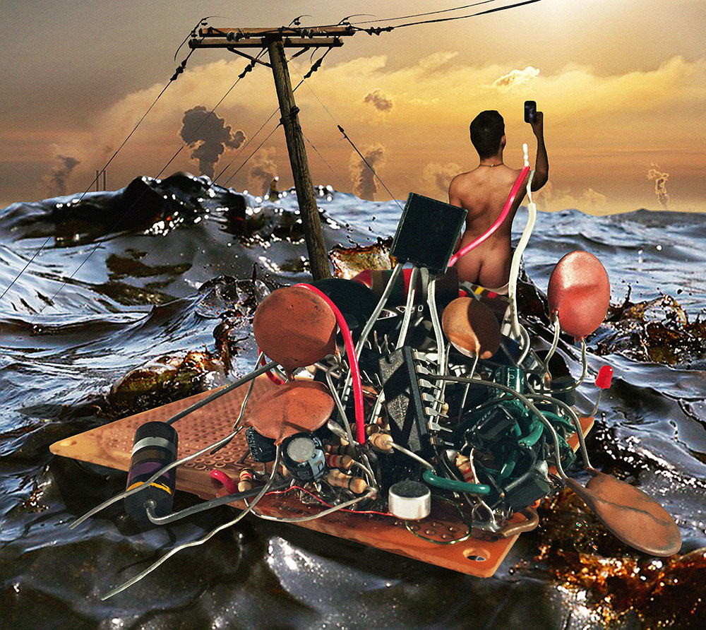 Selfie on the Raft of Medusa, 2015.  Digital photo collage.  Kelly Heaton