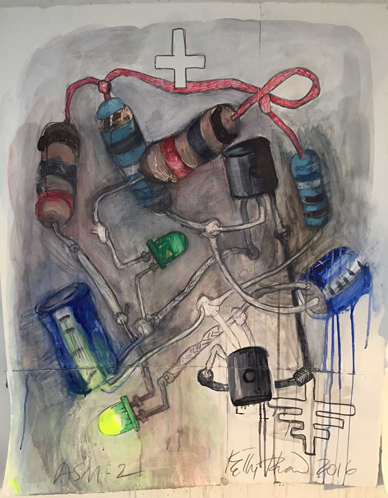 "Astable Multivibrator #2, 2016.  Graphite, watercolor, acrylic, and colored pencil on paper. 41"" x 33"" Kelly Heaton"