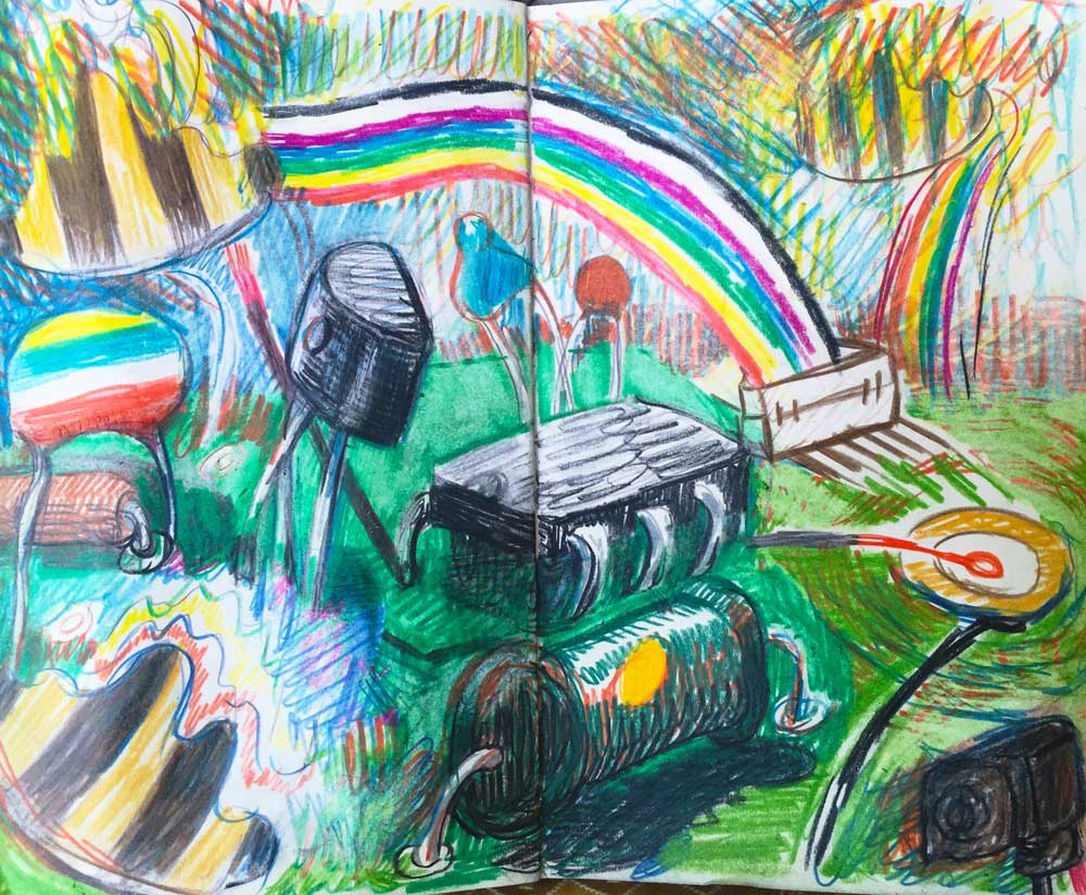 Landscape Electronic Study, 01/26/16.  Colored pencil and graphite notebook sketch.  Kelly Heaton
