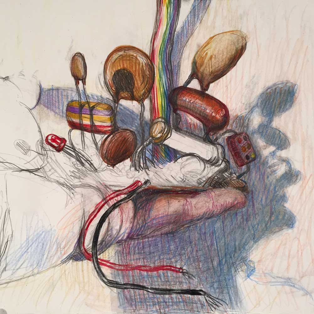 Untitled study for a painting, in progress.  Colored pencil and graphite on paper.  Kelly Heaton