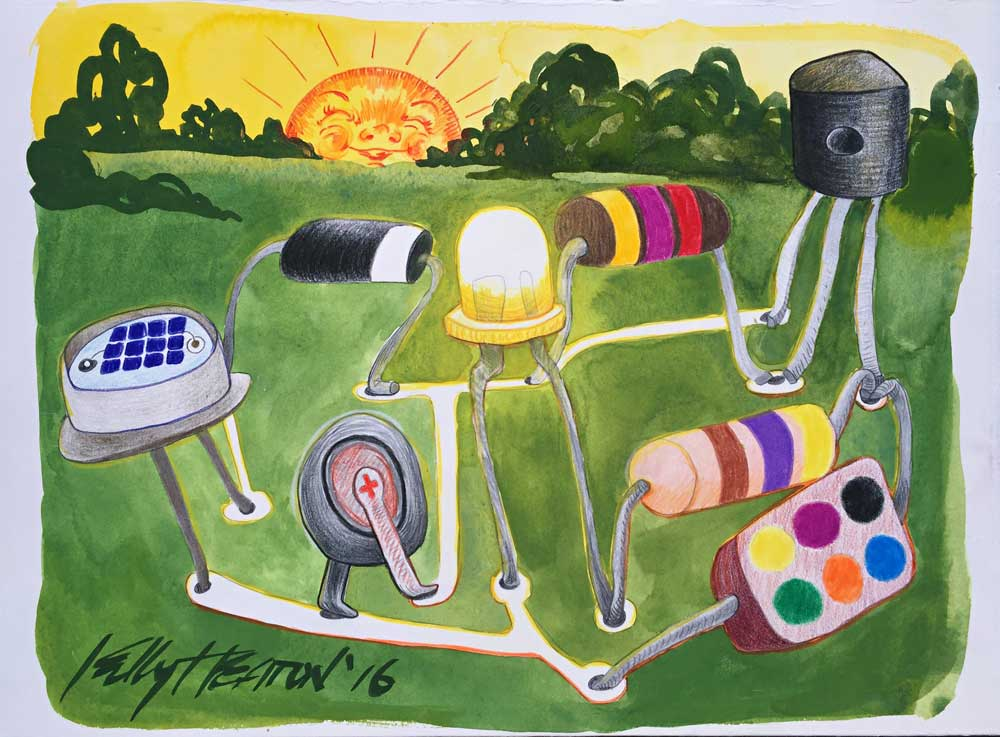 Study for a public art installation involving a circuit to illuminate a lamp, 2016