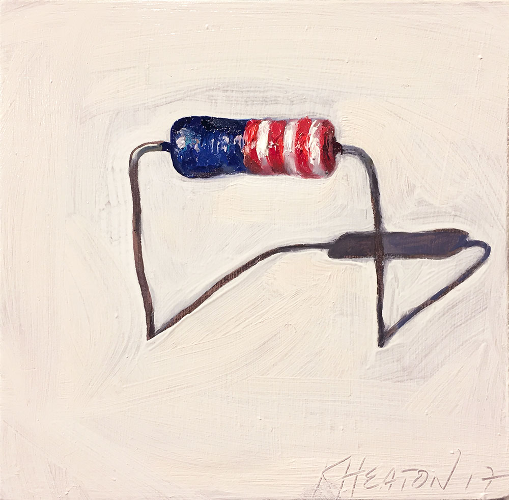 "American Resistor (#1), 2017. Oil on panel, 5.5"" x 5.5"""