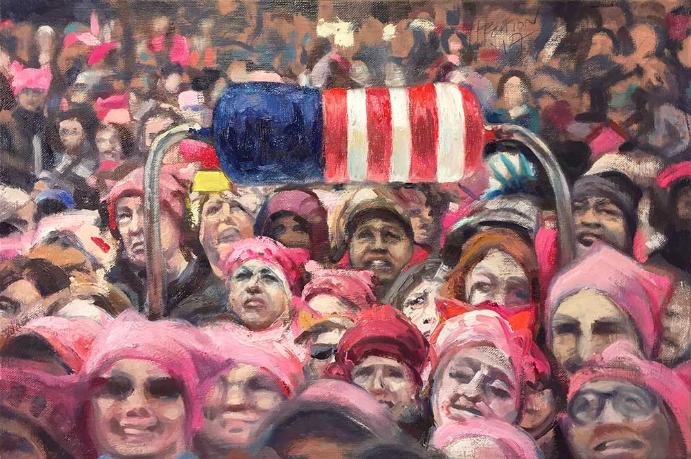 "American Resistance (Women's March), 2017. Oil on canvas, 12"" x 18"""