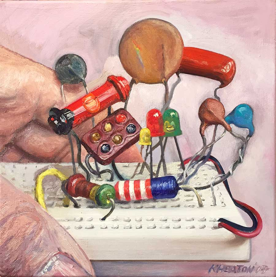"""Human Electric, 2017. Oil on canvas, 14"""" x 14"""""""