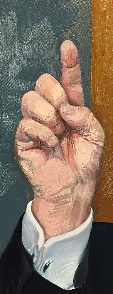 "Donald Trump's Hand (detail from ""Donald Trump (The Big Hack),"" 2017. Oil on canvas"