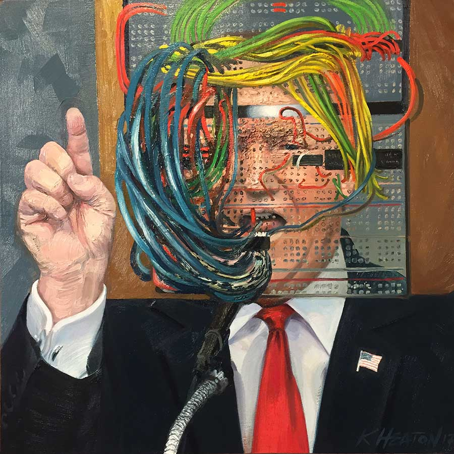 "Donald Trump (The Big Hack), 2017. Oil on canvas, 18"" x 18"""