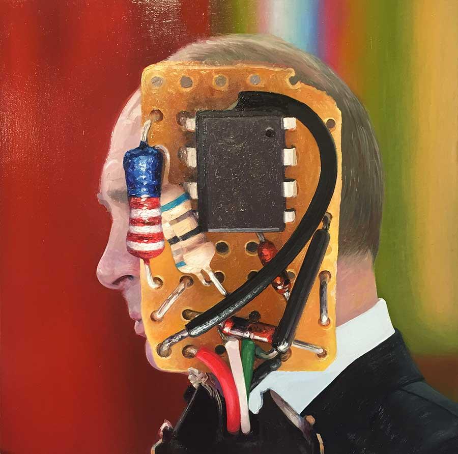 "Vladimir Putin (The Operational Amplifier), 2017. Oil on canvas, 18"" x 18"""