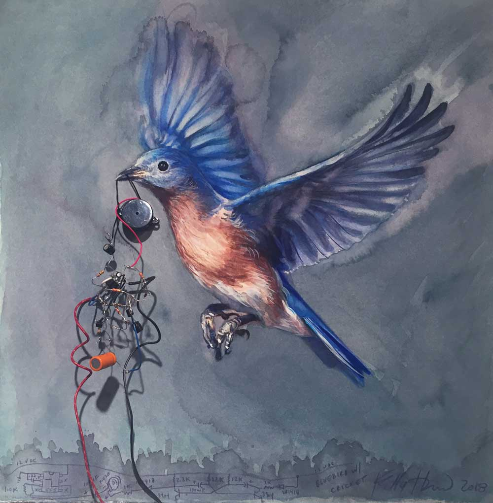 "Bluebird with cricket, 2018. Watercolor and analog electronics on paper, 15"" x 15"" x 1.5"" The colors of this photograph are truer than the video, but still not as vibrant as the actual work. I used cobalt and manganese blue, both of which have such an electric quality."