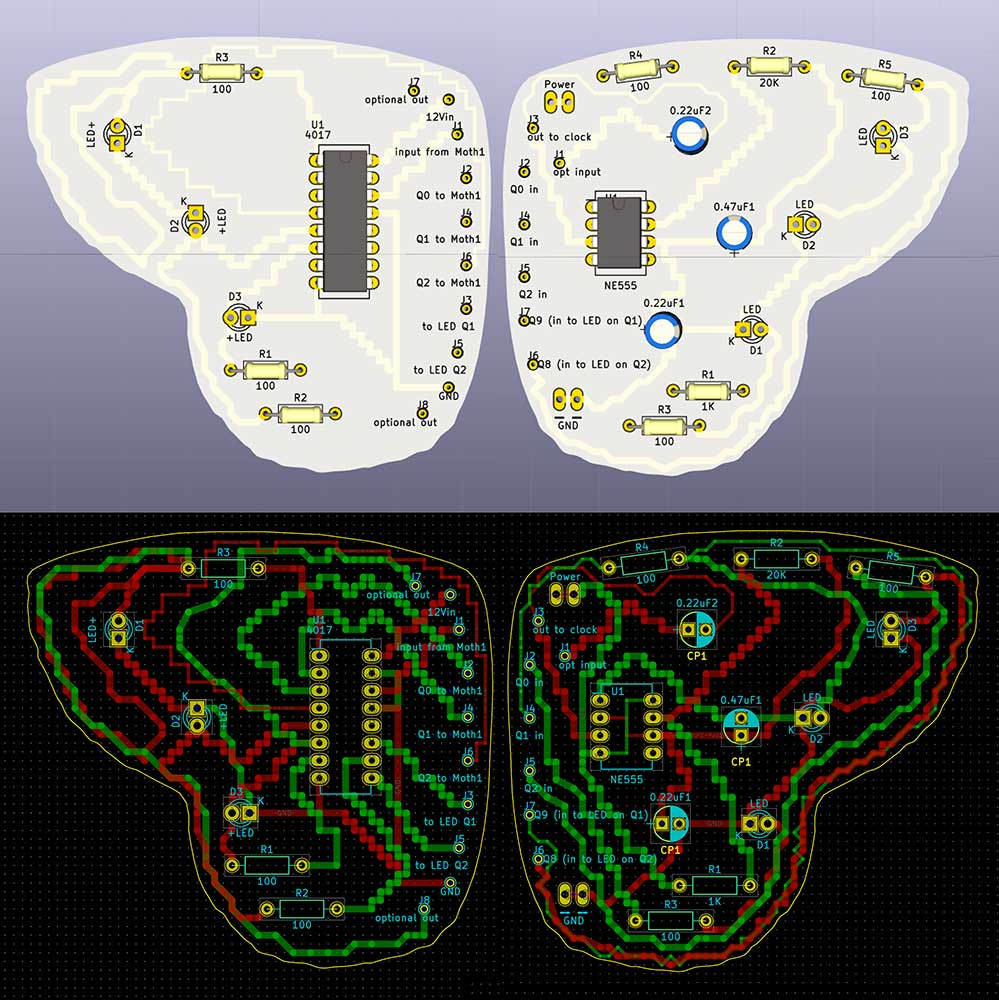 Two views of my moth in KiCad. The top image shows a 3d rendering of the actual boards, and the bottom shows my printed circuit board (PCB) layout. Kelly Heaton, 2018