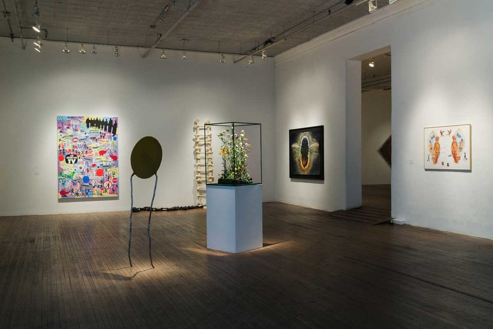 Scene from the gallery showing three of my works from Pollination (2015): Weeds, C, and Shamanic Bee