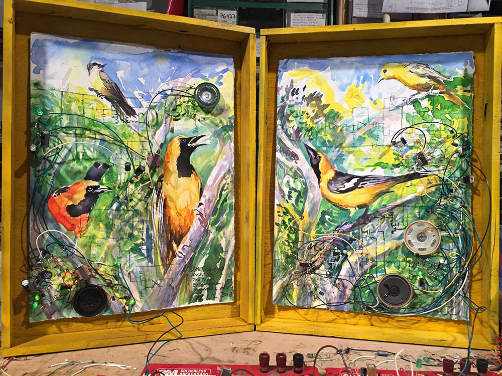 Mexican Orioles, 2018.  Diptych of analog electronics and watercolor on paper with custom wood frames.