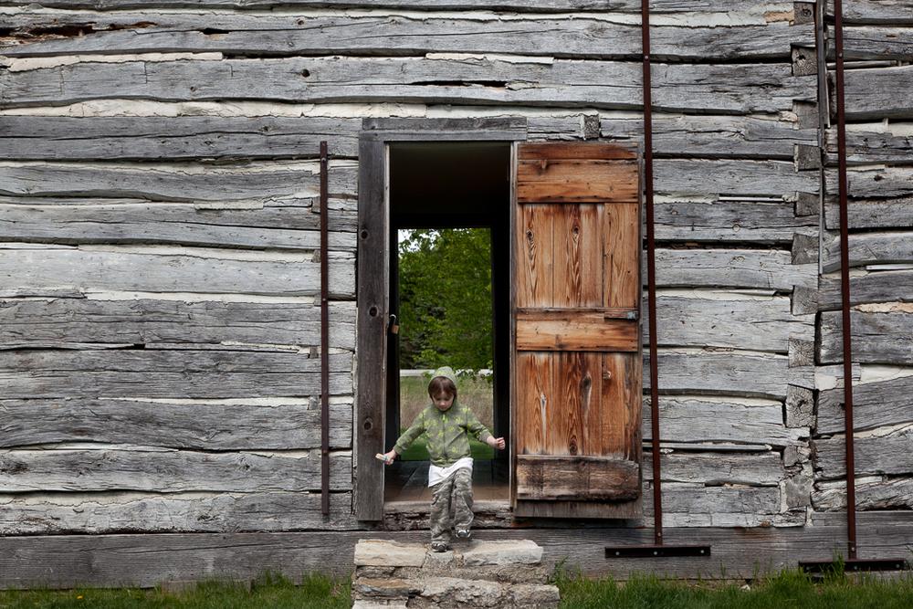 "Exploring a settler's cabin. Archival Inkjet Print. 17"" x 22"". 2010."