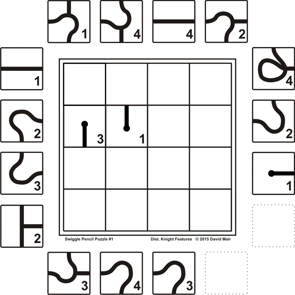 Using all the tiles around the grid (once only), copy them onto the grid to form a connected line.  The tiles can not be rotated.   The line can not be directed off the edge of the grid or into a blank tile [if there is one in the puzzle] and must connect with any adjacent tiles on all sides.    No number is repeated in any row or column.