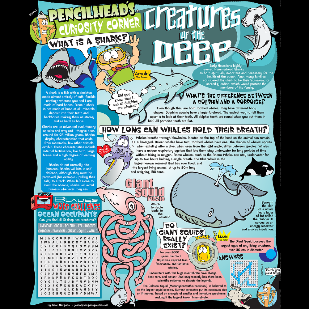 PENCILHEAD CURIOSITY CORNER Entertaining comics and infographics for all ages. Pages & Pull-outs • Comics & Cartoons • Fillers   MORE...