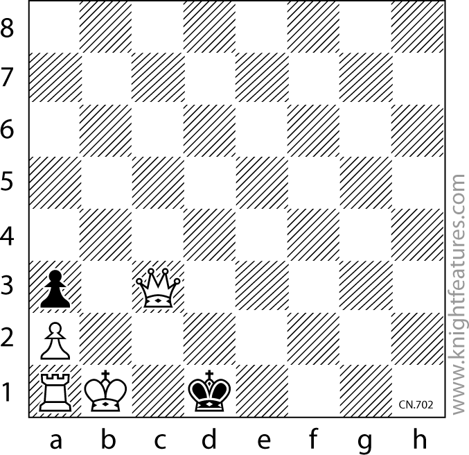 White mates in three moves, against any defence (by Otto Wurzburg).  Sometimes the simplest-looking chess puzzles can be the hardest to crack, and I recall struggling for nearly an hour over this miniature setting when I first came across it.  How do you rate?