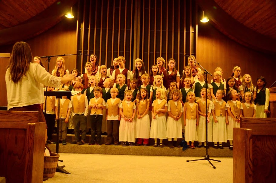 The Bija Treble, Concert, Preparatory and Junior Choirs performing together at the Harvest Benefit Concert, Nov 2014 at the Community Church of Sebastopol.