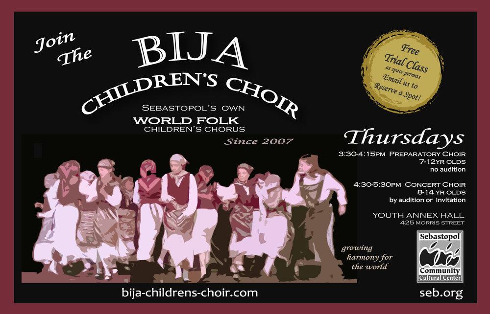 Bija Choir 2018-19 postcard