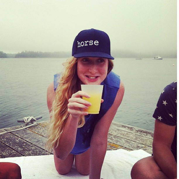 Babe zone in a HORSE cap having adventures in Maine. Crushing mimosas I hope! @evajanebly