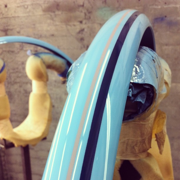 Matching fenders just finishing up in the spray booth (at Horse Cycles spray booth)