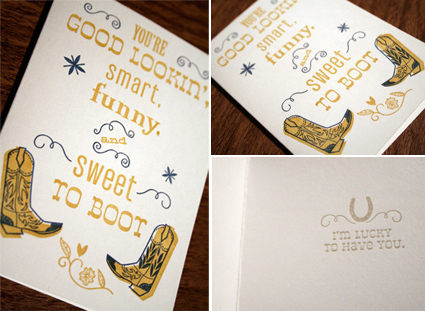 Sweet to Boot, size: 4bar, 2 color letterpress