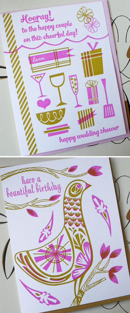 Wedding Shower and Folk Bird Birthday Letterpress Cards