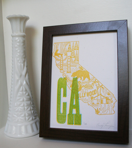 California Wycinanki Letterpress Print