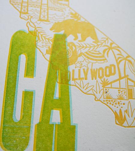 California Wycinanki Letterpress Print Detail