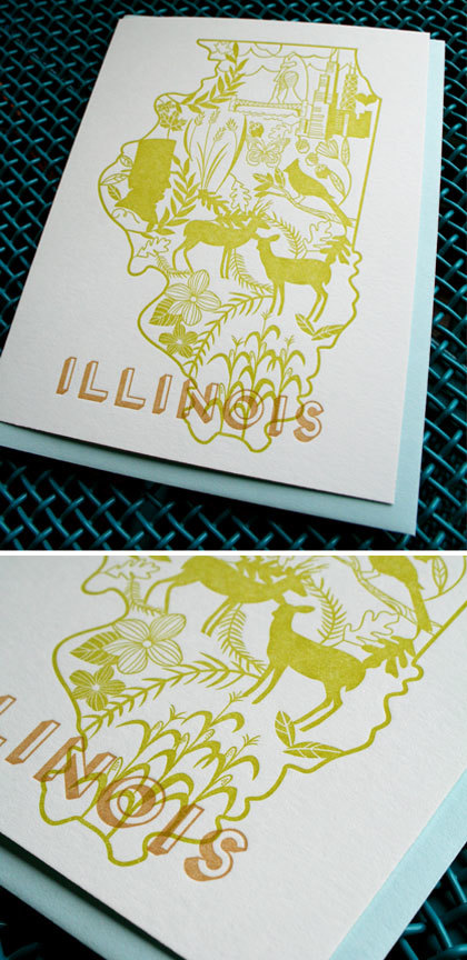 Illinois State Card Paper Parasol Press