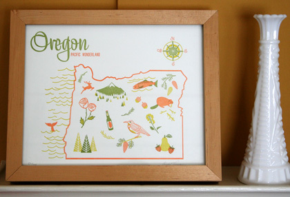 Oregon Letterpress Print / Paper Parasol Press
