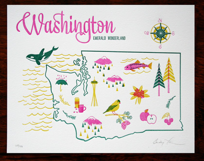 Washington State Letterpress Print / Paper Parasol Press