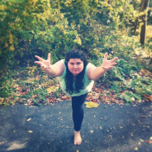 "Me doing the yoga pose ""Warrior III"""