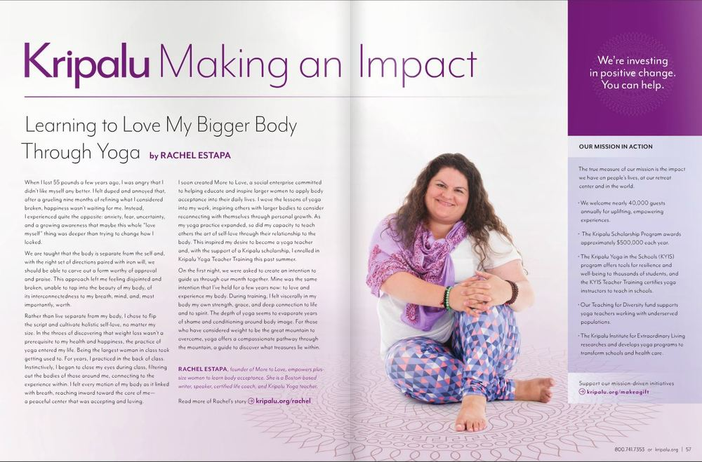 Featured in Kripalu Center for Yoga & Health's semi-annual magazine. Click the image to read her story.
