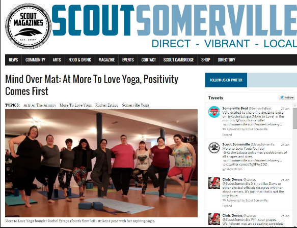 More to Love Yoga featured in Somerville Scout