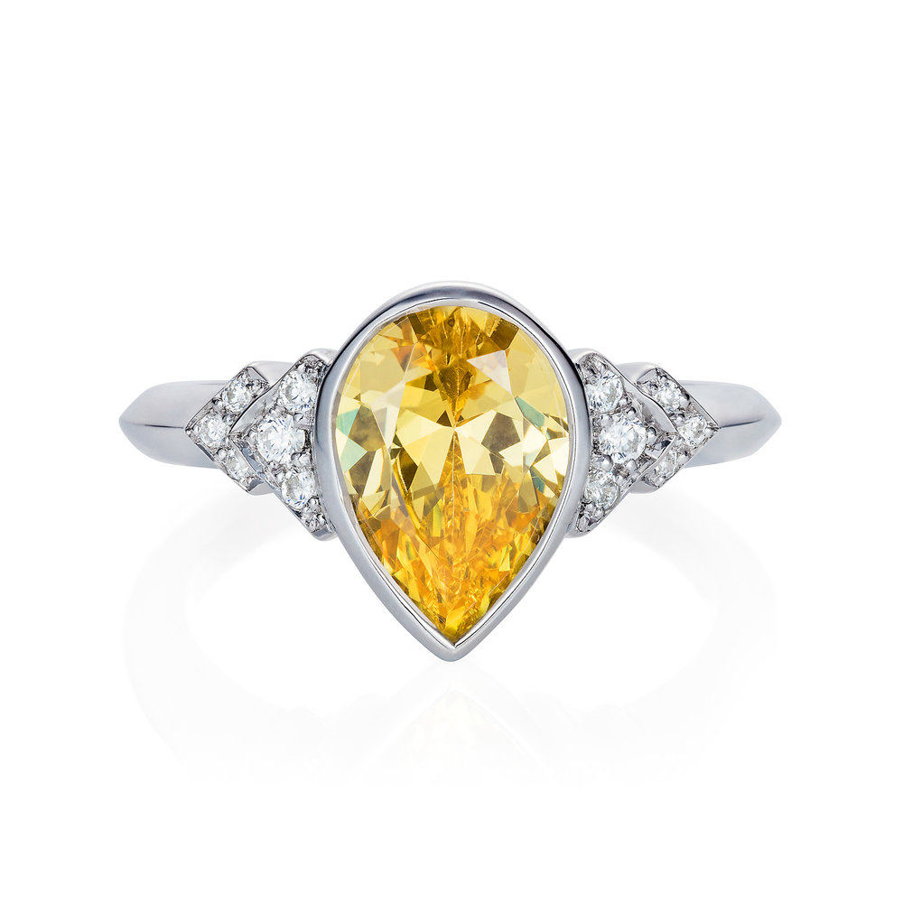 Spanner & Wingnut 'Pear' Engagement ring || 18ct white gold with yellow sapphire pear cut centre & white diamonds.