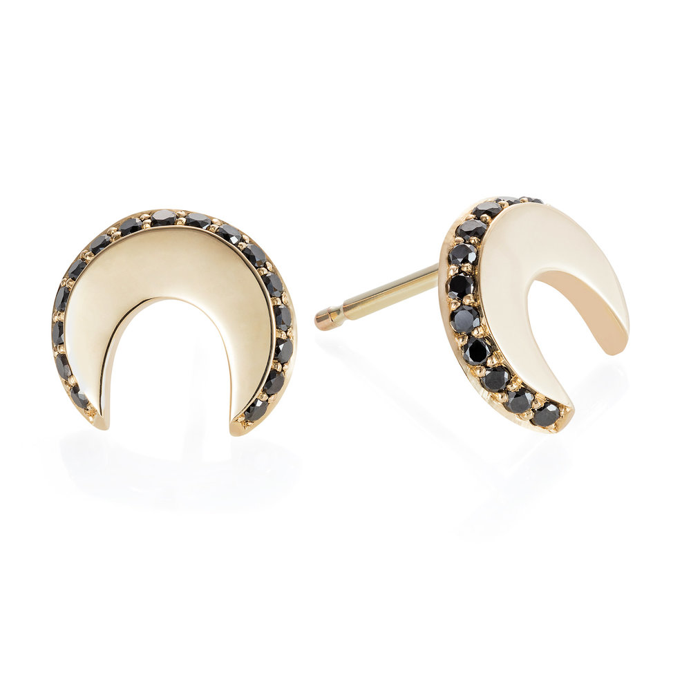 Spanner & Wingnut Luna earrings || 9ct gold with black diamonds