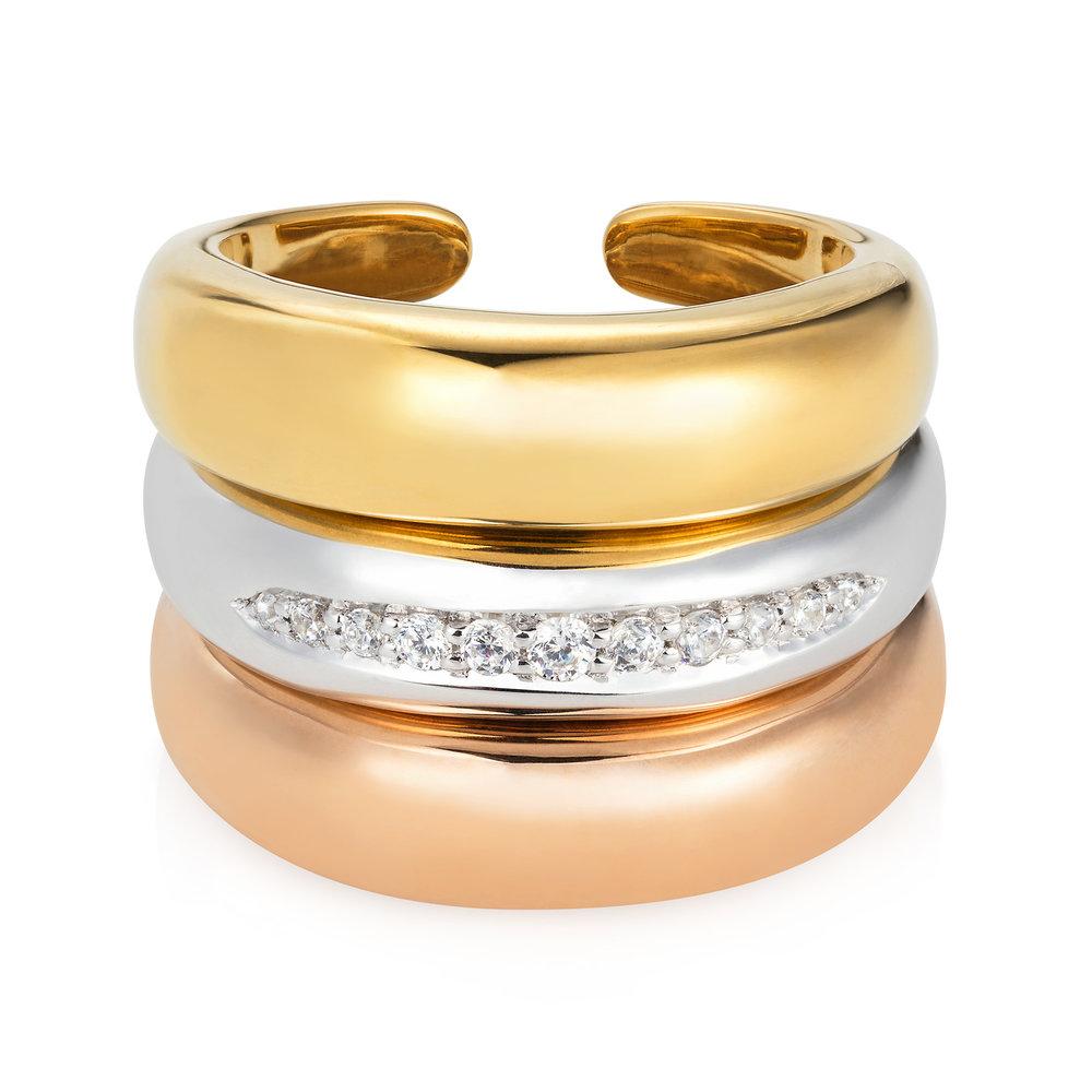 Spanner & Wingnut Half Moon rings || Silver & Gold vermeil rings