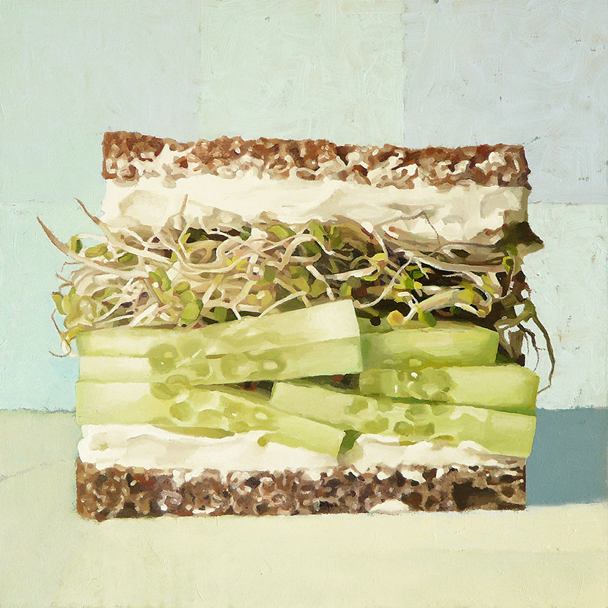 "Cream Cheese, Cucumber, Sprouts on Sour Rye   oil on panel    12"" x 12"""
