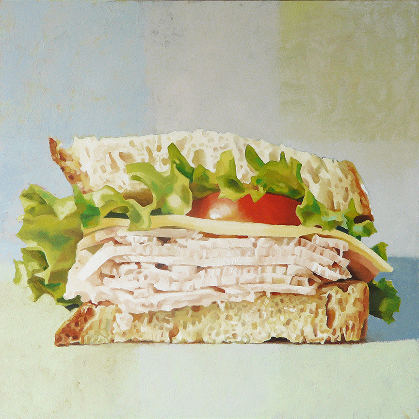 "Turkey, Swiss, Lettuce, Tomato, on Sourdough   oil on panel    12"" x 12"""