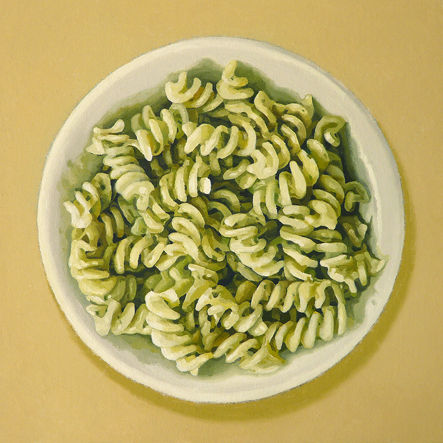 "Fusilli  oil on panel    12"" x 12"""