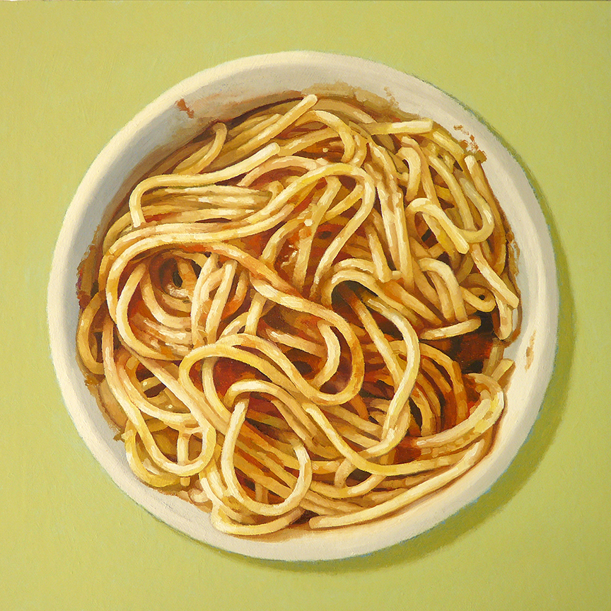 "Spaghetti  oil on panel     12"" x 12"""