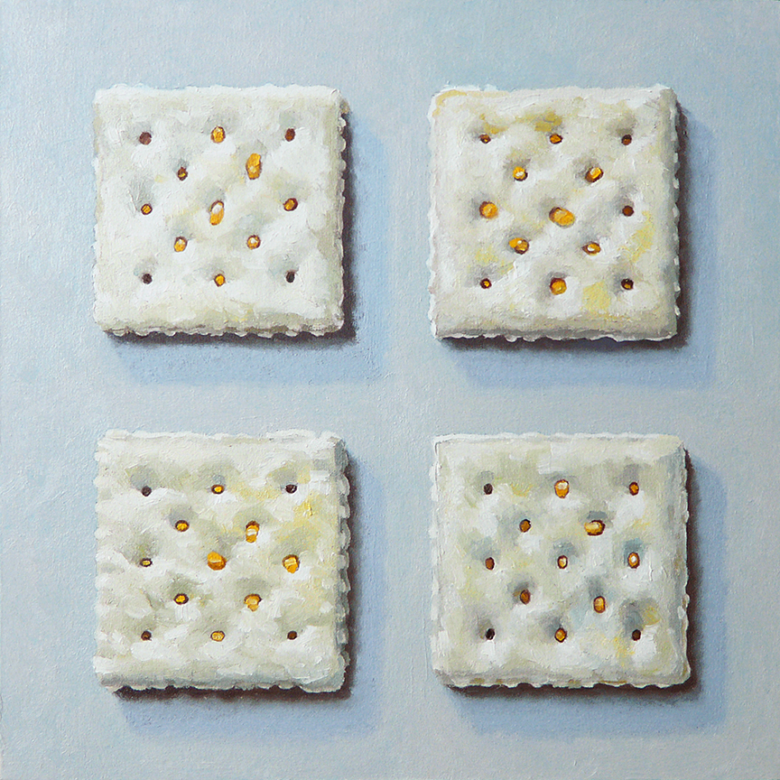 "Four Cheddar Sandwich Crackers  oil on panel    8"" x 8"""