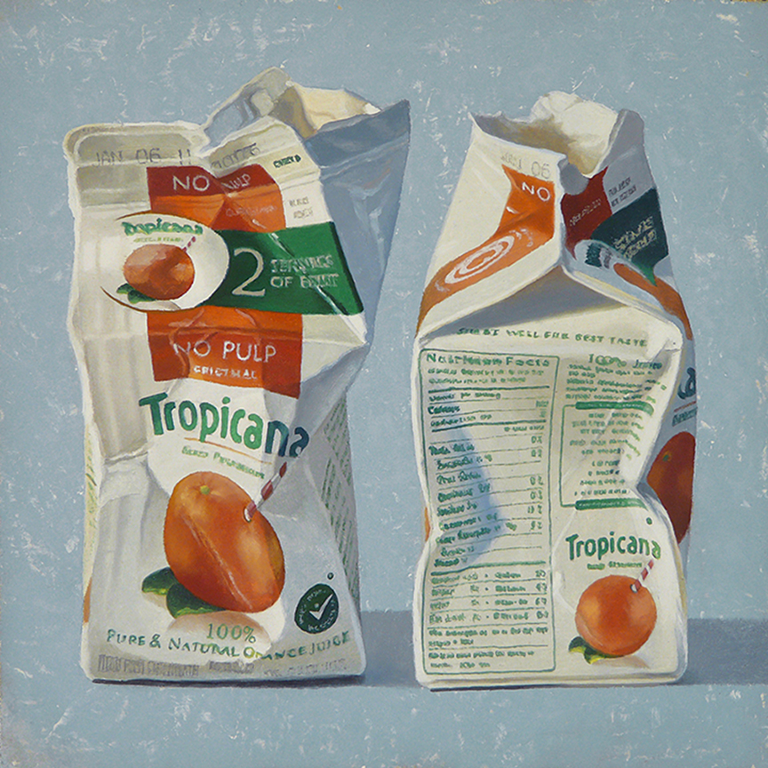 "Two Servings  oil on panel    10"" x 10"""